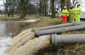 Pumping flood water at Bitts park into River Eden in Carlisle