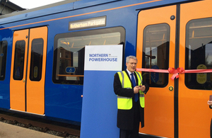 Andrew Jones with the new Supertram tram tain.
