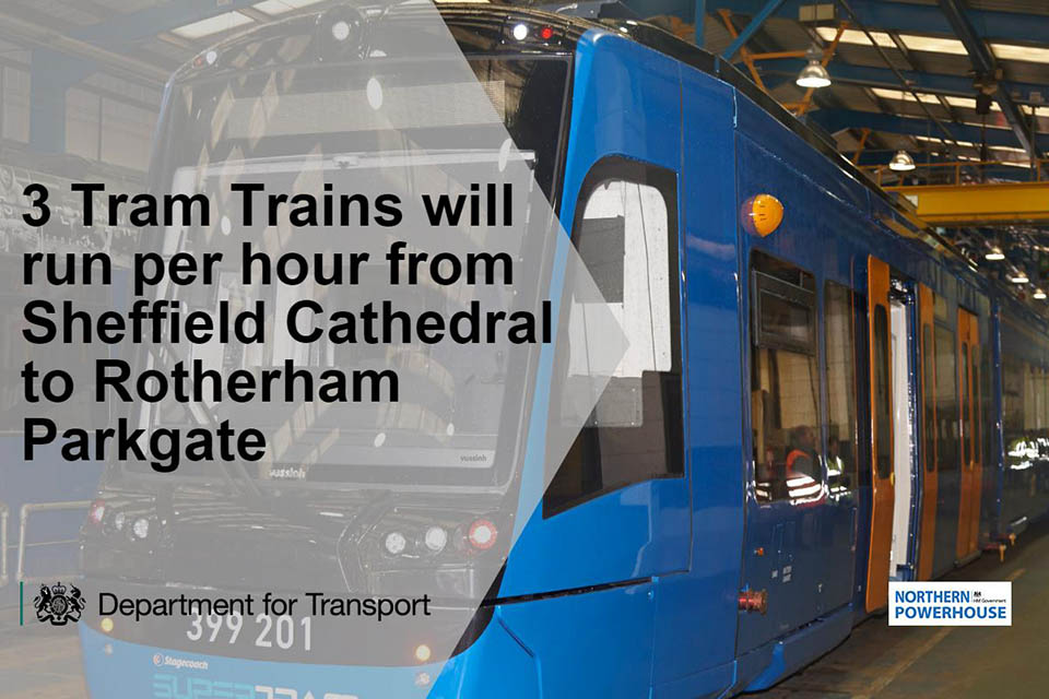 Three tram trains will run per hour from Sheffield Cathedral to Rotherham Parkgate.