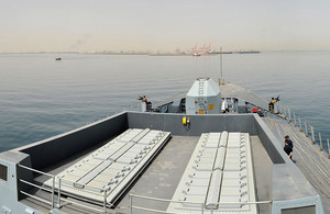 HMS Daring approaches the port of Al Jubayl in Saudi Arabia