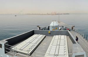 HMS Daring approaches the port of Al Jubayl in Saudi Arabia