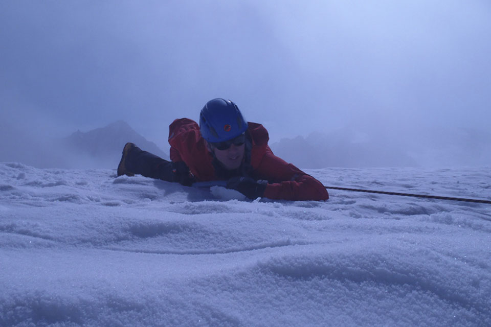 Captain Ivar Milligan, Scots Guards, practising crevasse rescue techniques during training on Mission Rehearsal Exercise 1 in the Swiss Alps