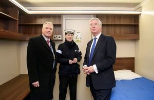 DIO Hd of Establishment Peter Bush, Engnring Technician Lorna Hay, Defence Secretary Michael Fallon meeting members of the Carrier crew living in temporary accommodation at MOD Caledonia. Photo: John Linton, Aircraft Carrier Alliance. All rights reserved.