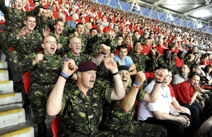 Service personnel enjoy the England friendly against Mexico at Wembley