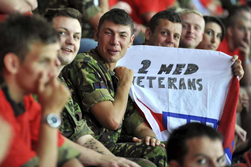Some of the 1,000 servicemen and women who enjoyed the England's win over Mexico at Wembley