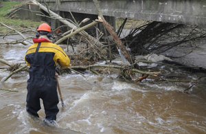 Environment Agency clearing a river in Carlisle