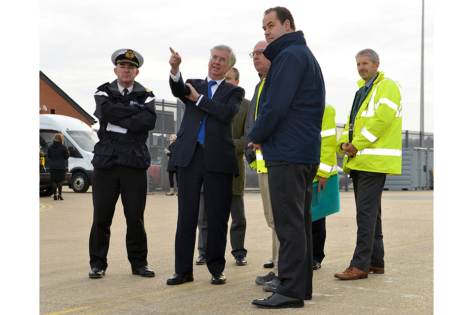 SECRETARY OF STATE VISITS HMNB PORTSMOUTH  Today, 14th December 2015, Secretary of State Rt Hon Michael Fallon visited the dredging site at HMNB Portsmouth where the new Queen Elizabeth aircraft carrier will be berthed.