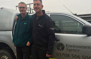 Environment Agency workers Dan Langdon, left, and Glyn Bowey