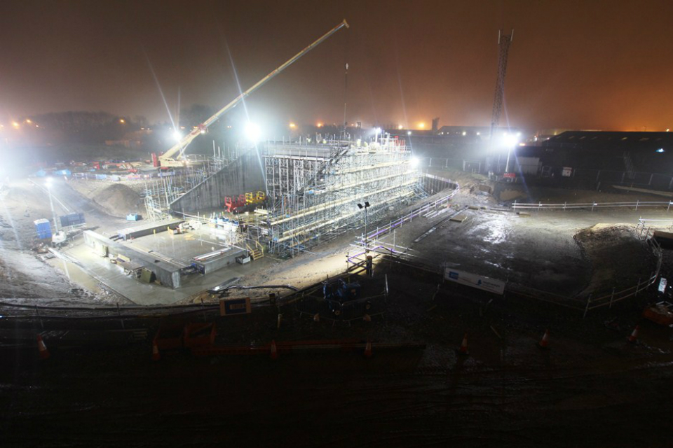 Bridge construction at night