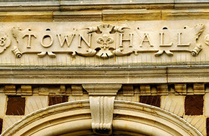 This picture shows a town hall sign