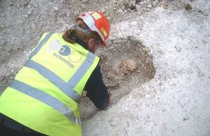 Excavation work on a late Roman burial. Oxford Archaeology. All rights reserved