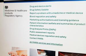 MHRA homepage on GOV.UK