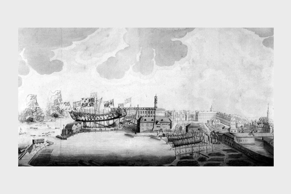 Launch of a 60-gun Ship at Deptford Dockyard