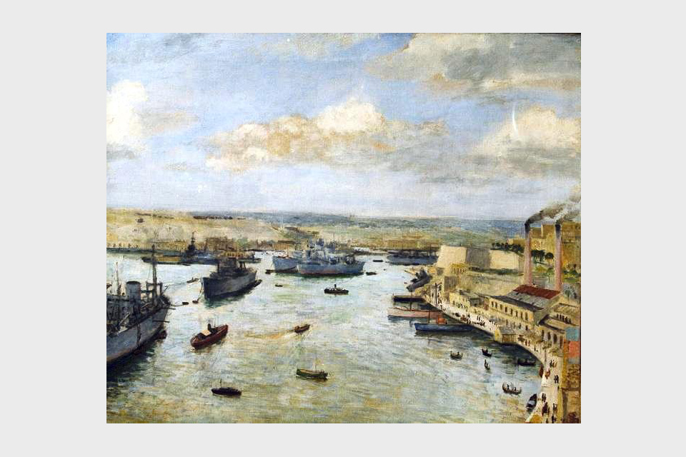 Merchant Ships at Anchor in Grand Harbour, Malta, 1943