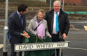 Patrick McLoughlin with aide and David Whitby's sister.