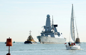 HMS Dauntless makes her approach into Portsmouth Harbour