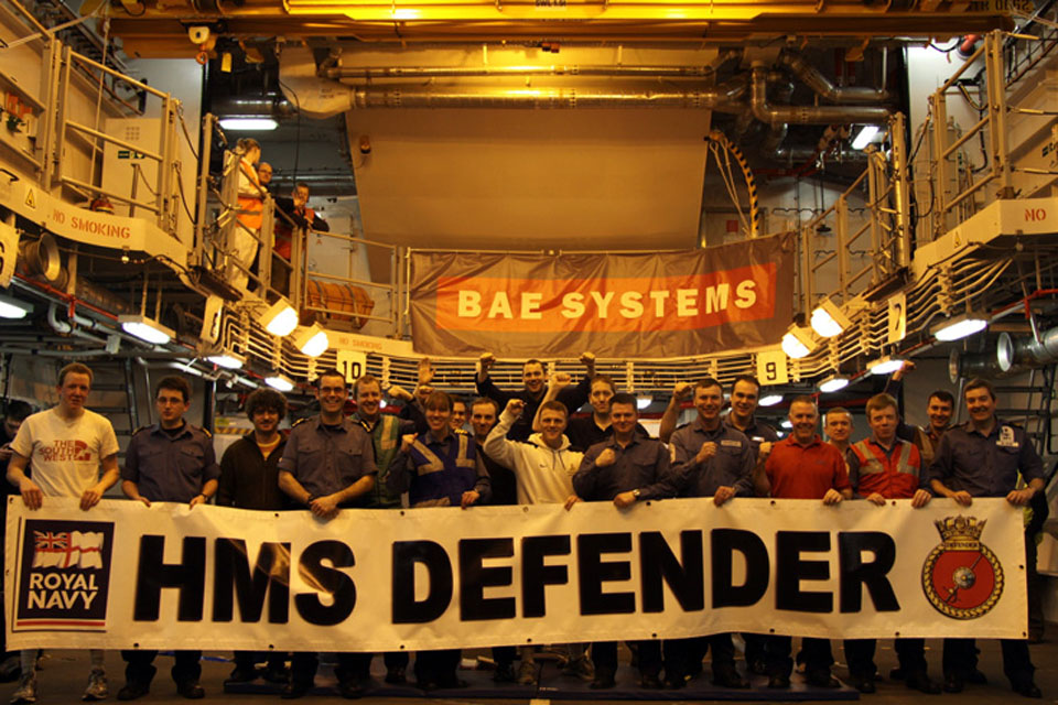 Defender's mixed crew of personnel from BAE Systems and the Royal Navy