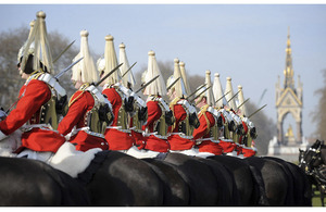 Soldiers from the Life Guards, Household Cavalry Mounted Regiment, during their annual inspection