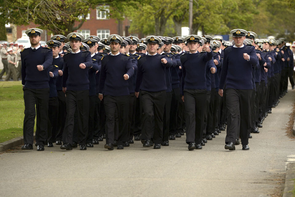 Royal Naval personnel practise their marching at Longmoor Training Camp in Hampshire in preparation for the Queen's Diamond Jubilee Parade in Windsor
