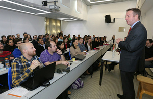 British Ambassador to Israel David Quarrey speaking to students at Bar Ilan University