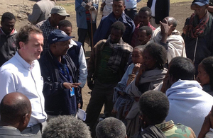 International Development Minister Nick Hurd at the site of a DFID-funded World Food Programme food distribution in northern Ethiopia.