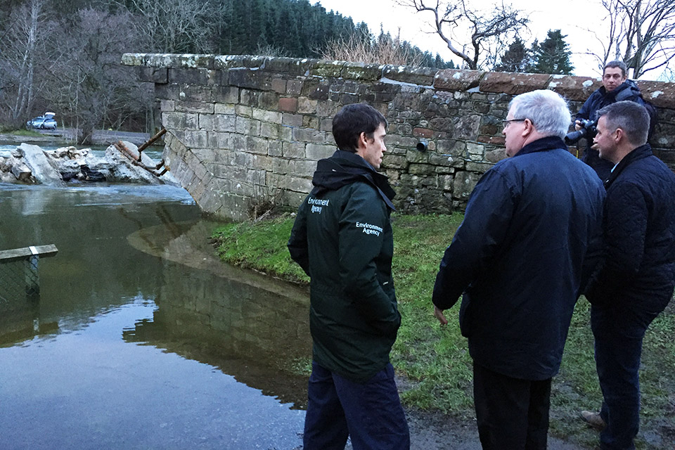 Patrick McLoughlin visits Pooley Bridge in Cumbria, 28 December 2015