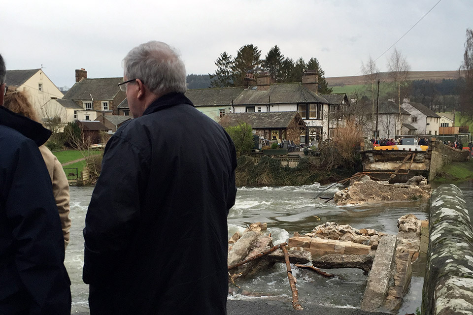 Patrick McLoughlin at Pooley Bridge in Cumbria, 28 December 2015
