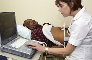 A man having an ultrasound scan