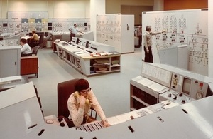 The control room at Wylfa power station in the 1970s