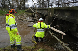 Environment Agency staff clearing river Petteril in Carlisle.