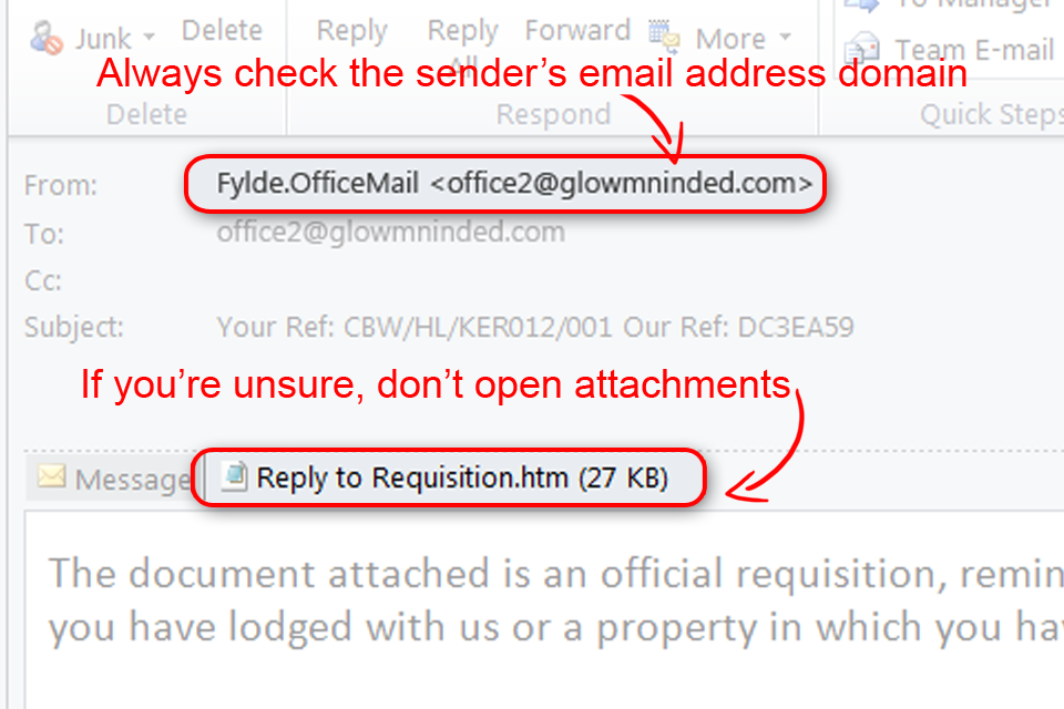 Always check the sender's email address domain