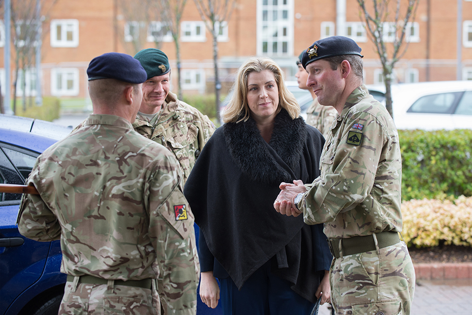 Armed Forces Minister Penny Mordaunt at Catterick Garrison thanking troops for their support over Christmas floods. Crown Copyright.
