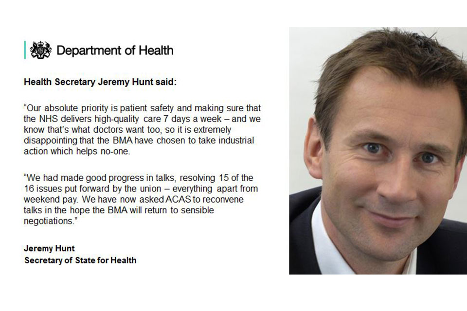 Jeremy Hunt quote about strike