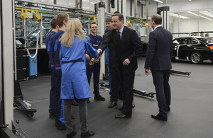 Prime Minister meeting staff at Munich BMW plant.