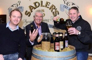 Chris Sadler, MD, Sadler's Ales; Paul Keeling, UKTI trade adviser and Ian King, Sales Director, Sadler's Ales