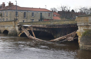 Flood damage to Tadcaster bridge.