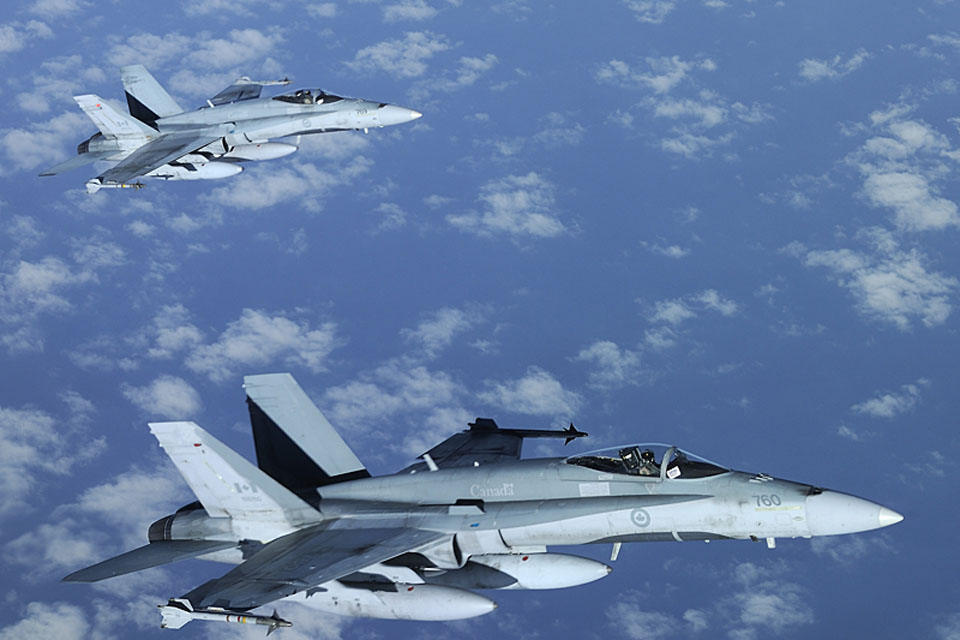 Canadian CF-188 Hornets supporting the NATO-led operation over Libya. HMS Liverpool's Fighter Controllers worked with coalition F18 fighter jets and tanker support aircraft, as well as Maritime Patrol Aircraft