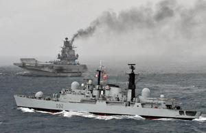 HMS Liverpool escorting Russian aircraft carrier Admiral Kuznetsov