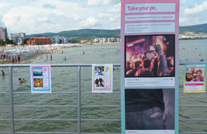 Take Your Pic promotional materials spread the campaign's messages in Sunny Beach.