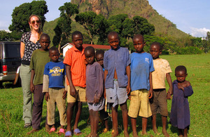 MOD civilian Hannah Winfield with Ugandan children