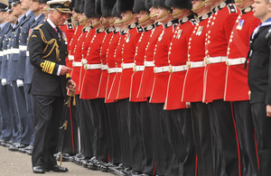His Royal Highness The Duke of Rothesay inspects members of the Armed Forces, including the 1st Battalion Scots Guards, in the forecourt of the Palace of Holyroodhouse