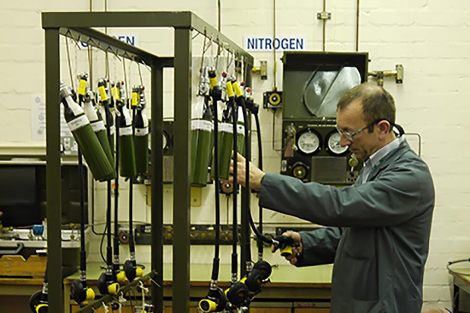 A cylinder leak test