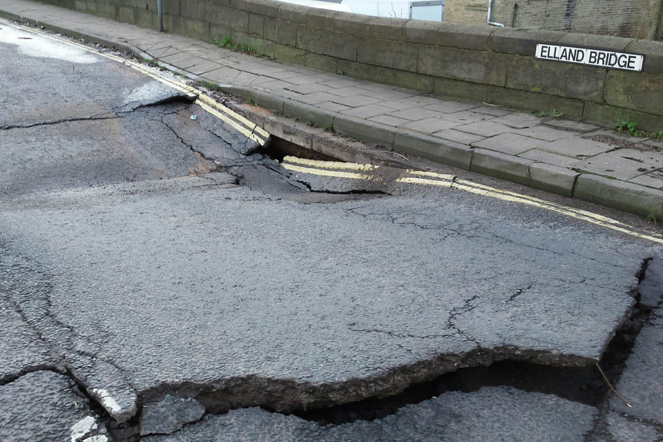 Road damage on Elland Bridge