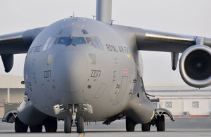 A Royal Air Force C-17 transport aircraft
