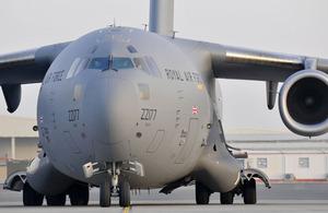 A Royal Air Force C-17 transport aircraft