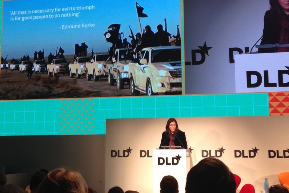 Baroness Shields delivering her statement on online extremism at the DLD conference in Munich.
