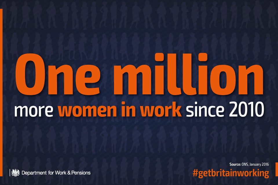 One million more women in work since 2010