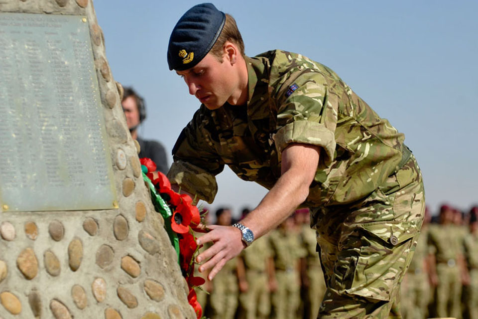 HRH Prince William of Wales lays a wreath at the Camp Bastion Memorial during a special visit to British forces in Helmand province