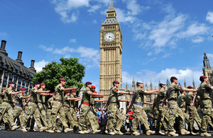 Soldiers parade through Westminster