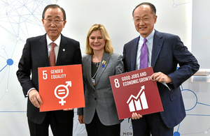 Ban Ki-moon, Secretary-General, United Nations, Secretary of State for International Development Justine Greening and Jim Yong Kim President, World Bank. Picture: Michael Buholzer/swiss-image.ch
